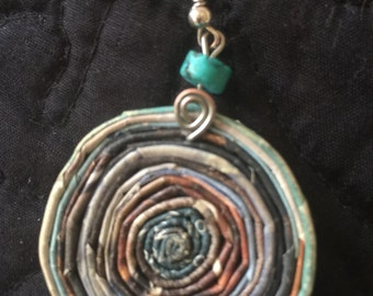 n. 65 BLUE & EARTH TONE coiled recycled paper pierced earrings with glass beads measure 1.5""