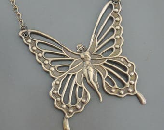 Vintage Necklace - Art Nouveau Necklace - Butterfly Necklace - Statement Necklace - Vintage Brass Necklace - Boho Necklace handmade jewelry