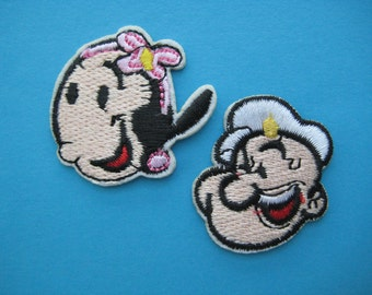2 pcs Iron-on Embroidered Applique Popeye & Olive Oyl 1.4 inch