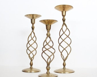 50% half off sale // Vintage 70s Instant Collection 3 Tall Large Brass Spindle Spiral Candlestick Holders Lot, wedding decor, home decor