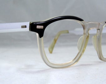 Vintage EyeGlasses Mens Horn Rim Safety Frames. Black and Clear with Silver Temples
