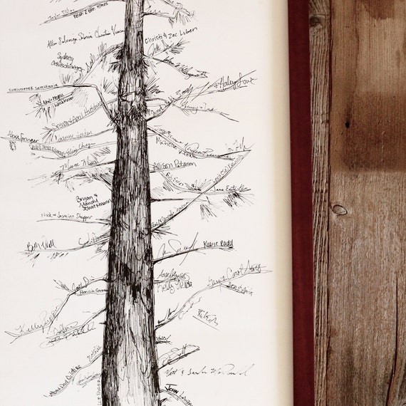 Wedding Guest Book Alternative, Signature Tree, unique guest book, pine tree, housewarming gift, fingerprint tree, rustic home, guest book