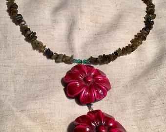 Labradorite Flower Love Necklace