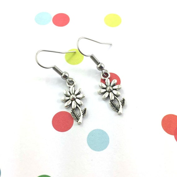 little light flower silver metal earring charm on hypoallergenic stainless steal hook, les perles rares
