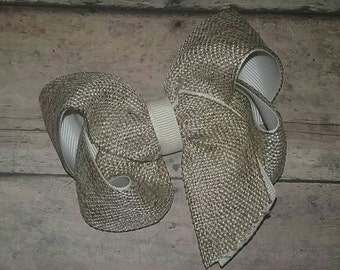 Burlap and Ivory Cream 4 Inch TBB Twisted Boutique Bow