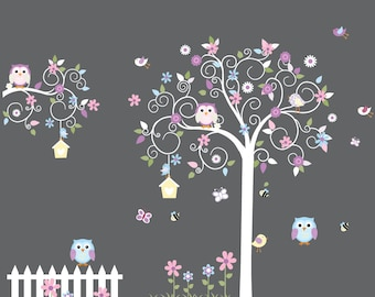 Swirl tree wall decals, vinyl wall decal, nursery wall decal, nursery wall sticker