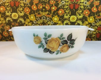 Vintage Phoenix Opalware Yellow Rose Casserole Dish Mixing Bowl 70s Kitchenalia