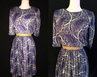 1970s Vintage Purple Paisley Dress -  Medium Large