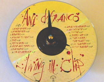 CD clock. Ani DiFranco clock.  Ani DiFranco CD clock. Recycled CD. Music clock. Small clock.