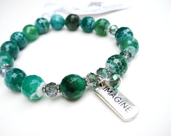 Green Cracked Agate Stretch Bracelet with Imagine Charm