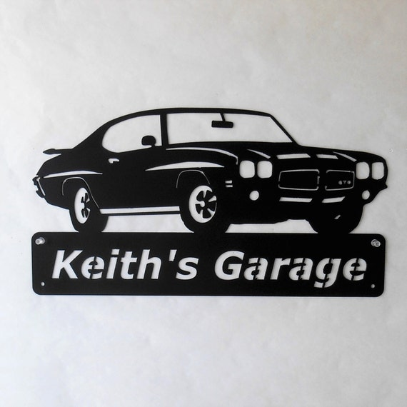 1971 Pontiac GTO Goat Personalized  Man Cave Metal Sign Garage Art Satin Black