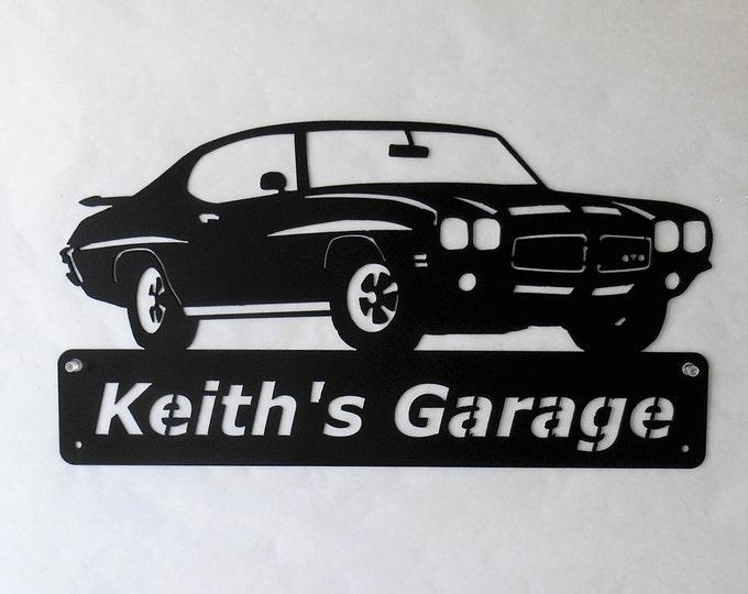 1971 Pontiac GTO Goat Personalized  Man Cave Metal Sign Garage Art Satin Black