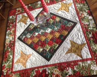 Christmas Checkerboard 36 inch quilted table topper