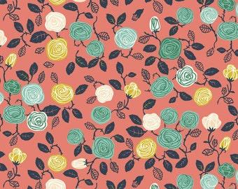 Organic KNIT Fabric - Birch Hidden Garden Knits - Roses Coral Knit