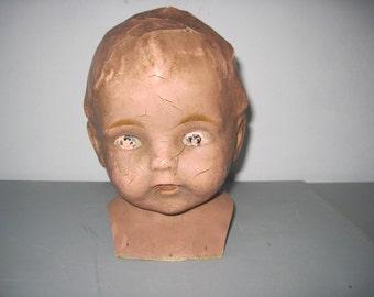 large Antique doll head for repurpose or repair