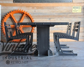 Vintage Industrial Dining Table and Chairs