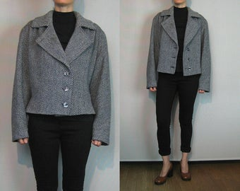 Tweed Wool Oversized Cropped Coat / Oversized Menswear Coat / Minimalist Coat / Tweed Wool Jacket / Wool Cropped Jacket