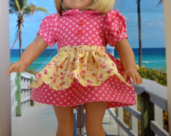 18 Inch Doll Clothes Two Piece Outfit Pink Cotton Print Short Sleeve Dress and Yellow and Pink Half Apron by SEWSWEETDAISY