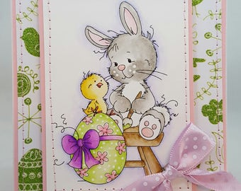 Easter Bunny Egg Chick - Handmade Card - Creations By Wendalyn, Spring, Birthday, Watercolored, Sewn