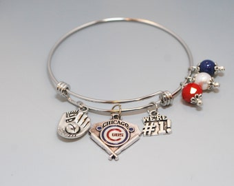 Chicago Cubs Stainless Steel Bracelet Gifts/Chicago Cubs Expandable Bracelet Gifts/Chicago Cubs Jewelry Gift/Chicago Cubs Baseball Bracelet/