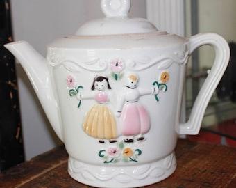 Portlier White China Teapot Dutch Girl & Boy
