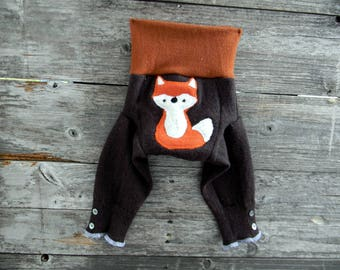 SMALL Upcycled Merino Wool Longies Soaker Cover Diaper Cover With Added Doubler Brown/ Orange With Fox Applique SMALL 3-6M Kidsgogreen