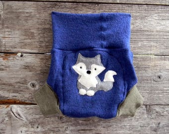 Upcycled Merino Wool Soaker Cover Diaper Cover With Added Doubler Blue Sage Green With A Wolf Applique LARGE 12-24M
