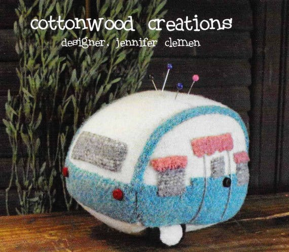 Wool Applique Pattern, Vintage Camper, Camper Pin Keep, Cushion, Wool Pin Keep, Sewing Accessory, Sewing, Cottonwood Creations, PATTERN ONLY