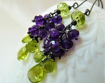 CLEARANCE Peridot and Amethyst  cluster silver earrings. February birthstone earrings. Amethyst earrings.Violets.Pansy. August birthstone