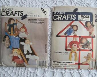 2 Lot Blossom Babies Dolls & Clothes Sewing Patterns McCalls Crafts 9074 9256 Faye Wine Boys Girls Dress Pants