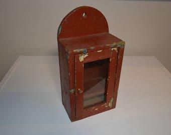 Old wooden wall box clock box glass door primitive country farmhouse decor