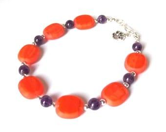 Clemson Bracelet, Orange Glass Bead Bracelet, Sterling Silver Bracelet, Amethyst Beads and Silver Tiger Paw, Orange and Purple Bracelet