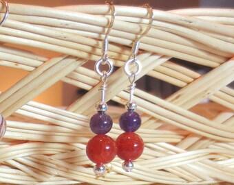 Purple and Orange Dangle Earrings - Amethyst Earrings - Team Earrings - Carnelian Jewelry - Silver Gemstone Earrings