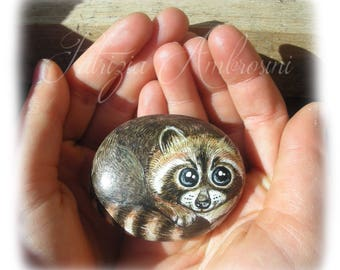 Raccoon No.2  Handpainted rock painting painted stone miniature painted rock pebble fine art