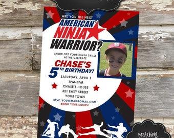 AMERICAN NINJA Warrior Custom Photo Birthday Invitation - Digital File, You Print - 5x7 OR 4x6 - Wording Fully Customizable