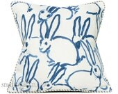 Bunny Fabric - Hutch Print Navy - Hunt Slonem - Lee Jofa - Groundworks - Lumbar - 20X20 - decorative pillow cover -  made to order