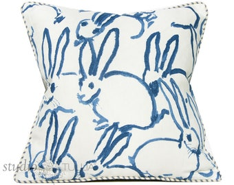 Bunny Fabric - Hutch Print Navy - Hunt Slonem - Lee Jofa - Groundworks - Lumbar - 20X20 - decorative pillow cover -  ready to ship