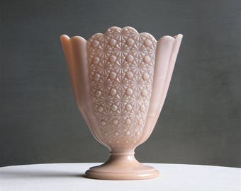 Vintage Pink Milk Glass Vase - Rose Pastel Daisy and Button Pattern Fan Vase by Fenton1950s Blush Glass