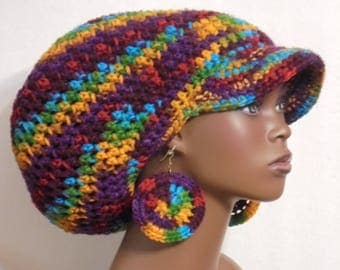 Fiesta Large Brimmed Cap Hat with Drawstring and Earrings Dreadlocks by Razonda Lee Razondalee
