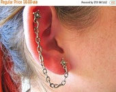 On Sale Antiqued Silver Double Pierced Cartilage Earring Textured Chain