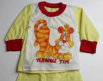 """Vintage 80's baby / toddler polyester pajama set, """"Terrible Tim"""" cartoon lion, yellow / orange / white"""
