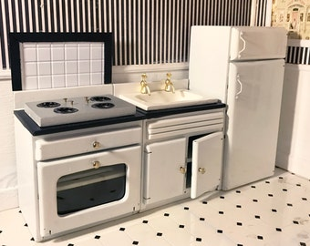 dollhouse kitchen furniture. dollhouse kitchen set retrovintage fridge stove sink backsplash furniture u