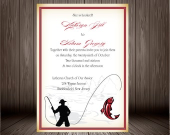 Fishing wedding invitations etsy for Fishing wedding invitations