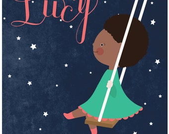 Personalized children's illustration, little girl or boy swinging in the sky with stars, the beatles, lucy in the sky with diamonds