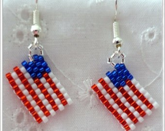 Peyote Beaded Flag Pierced Earrings, Patriotic, July 4TH, Flag Day, Any Day American