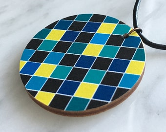 SALE 25% OFF, modern wooden pendant, circular, blue, turquoise, yellow, harlequin pattern, pantone colours of 2016, style 57