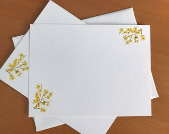 Forsythia, Yellow Blossoms, Flat Note Card Set, Gardener Gift, Thank You Card, Anticipation Symbol, Business Notes, Stationery, Illustration
