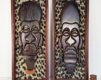 Vintage Pair of Mid Century Modern Tiki Wall Art