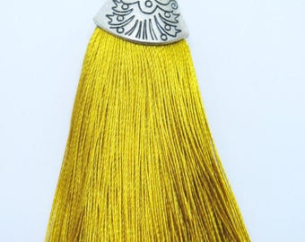 Large Silk Tassel with Antique Silver Cap - Goldenrod - 3 inches - DIY Accessories - LST5