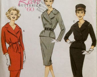 Retro Butterick 1960 Design Sewing Pattern Vintage Skirt and Jacket Size 6-14 UnCut 1960's Mod Style Mad Men
